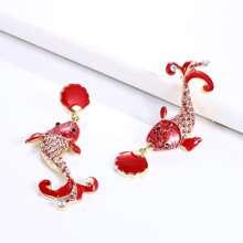 Rhinestone Decor Fish Drop Earrings