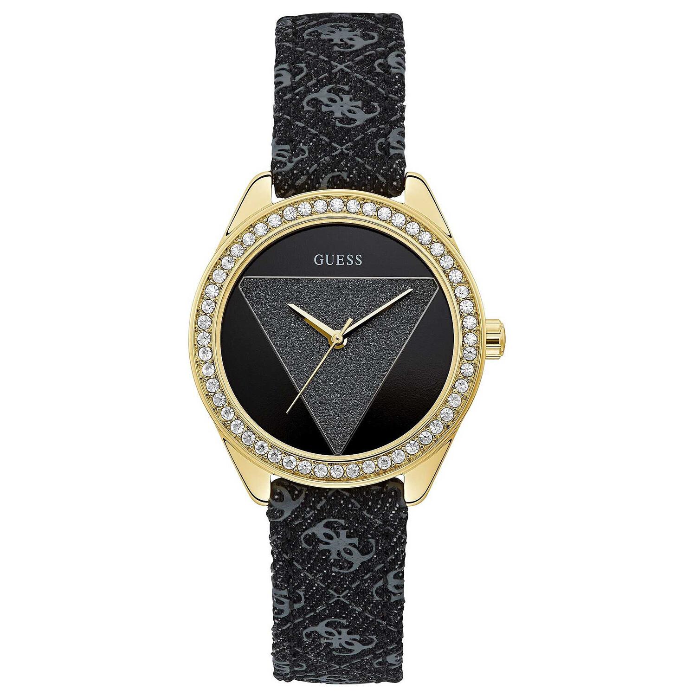 Guess Womens Tri Glitz U0884L11 Black Nylon Quartz Dress Watch