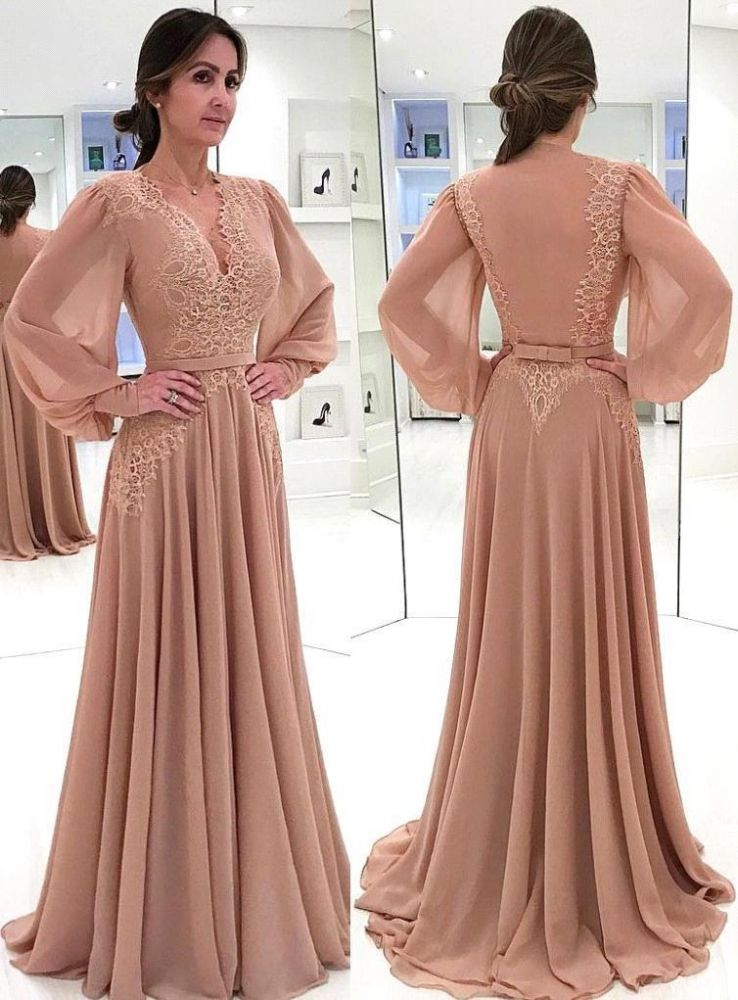 Elegant Champagne Puffy Sleeves Mother of the bride Dress | V-Neck Chiffon A-line Evening Gowns
