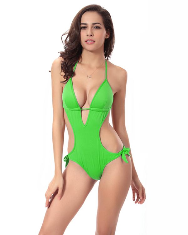 New Style Solid Color Monokini Pierced One-piece Swimwear Set