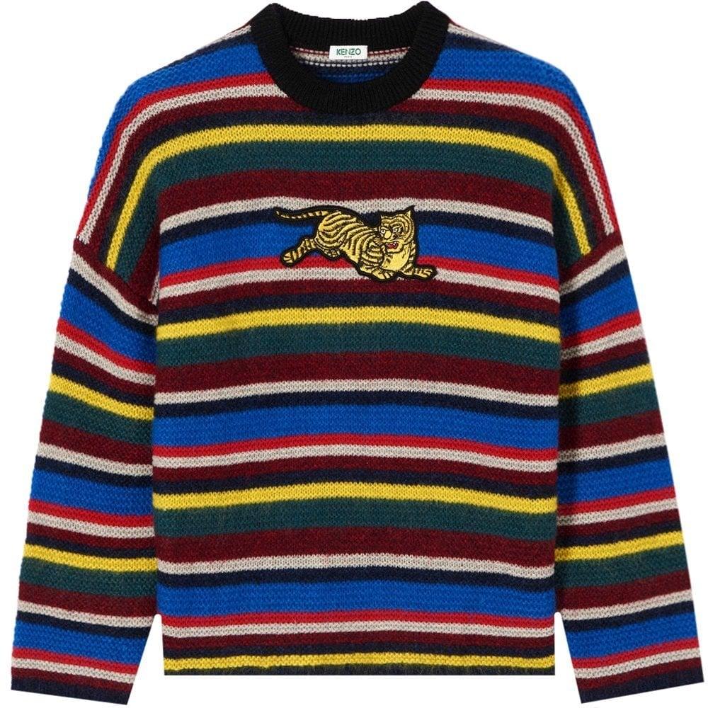 Kenzo Jumping Tiger Colour Block Sweater Multicoloured Size: MEDIUM, Colour: MULTI COLOURED
