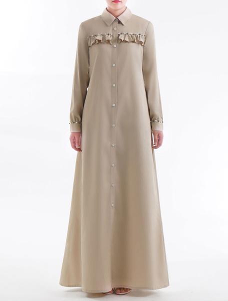 Milanoo Muslim Maxi Dress Women Shirt Dress Long Sleeve Ruffles Pearl Arabian Clothing
