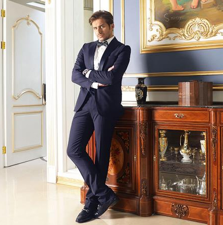 Men's Single Breasted Navy Blue Shawl Lapel Classic Style Suit