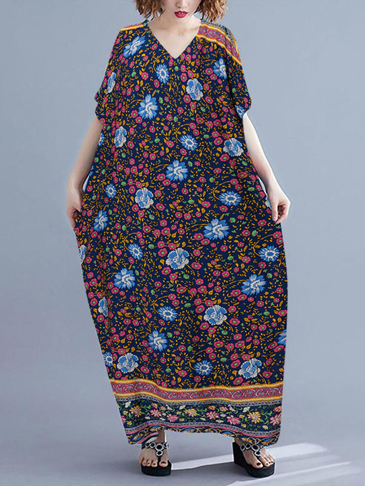 Floral Print Bat Sleeve V-neck Maxi Plus Size Dress