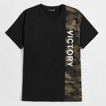 T-Shirt mit Buchstaben Muster und Karo Muster Einsatz
