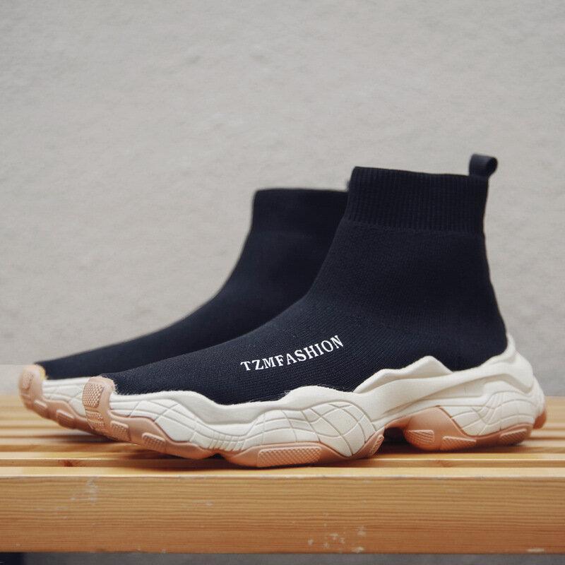 Men Fabric Comfy Slip Resistant Casual Chunky Sock Sneakers