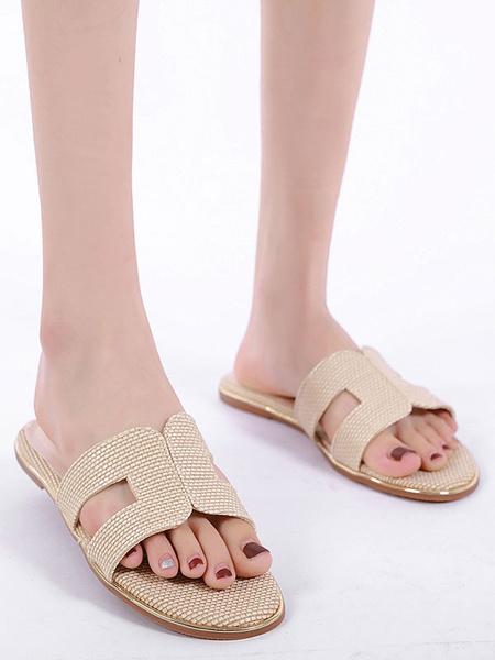 Milanoo Women Flat Slides Apricot Open Toe Slip On Sandal Slippers
