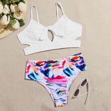 Water Color Knot Front Bikini Swimsuit
