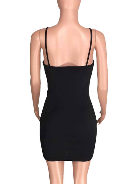 Milanoo Club Dress For Woman Straps Neck Embroidered Color Block Shaping Sexy Party Dress