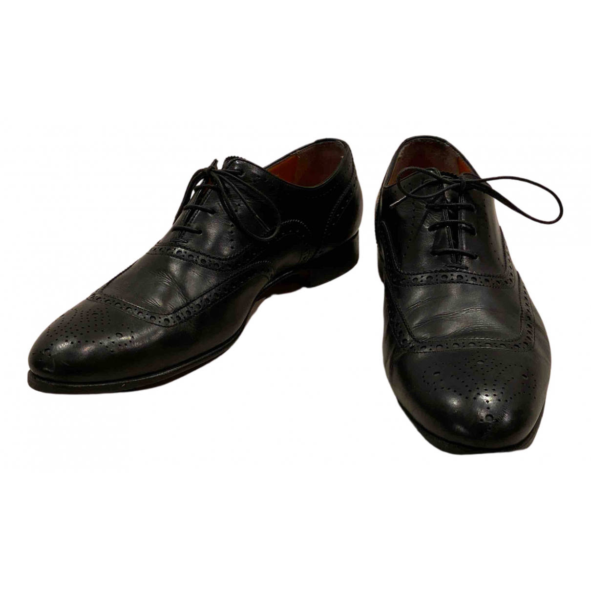 Santoni N Black Leather Lace ups for Men 8.5 UK