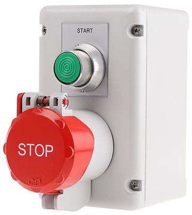 Craig & Derricott Momentary (Start), Pull to Reset (Stop) Push Button Control Station - NO/NC, Die Cast Aluminium,