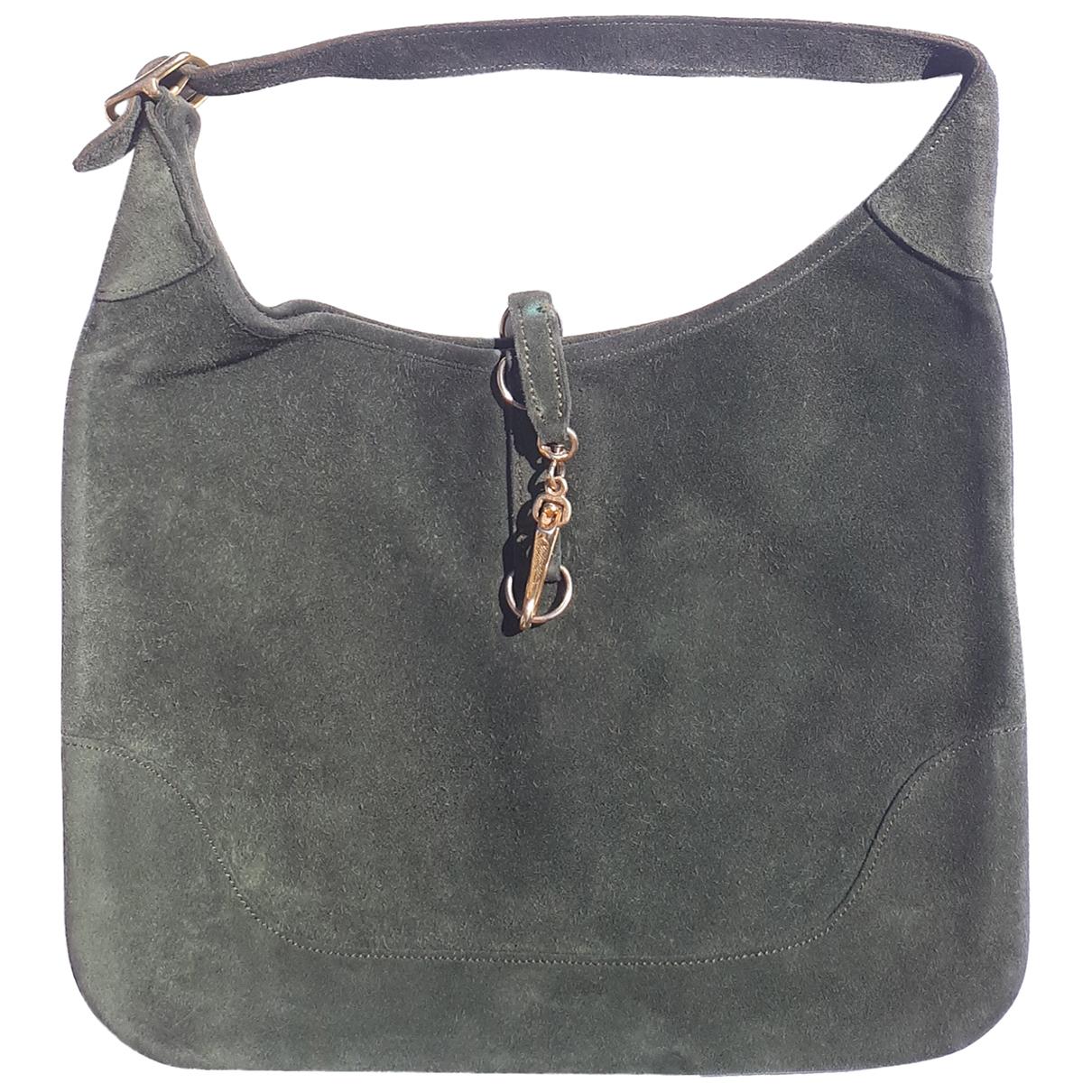 Hermes Trim Handtasche in  Gruen Veloursleder