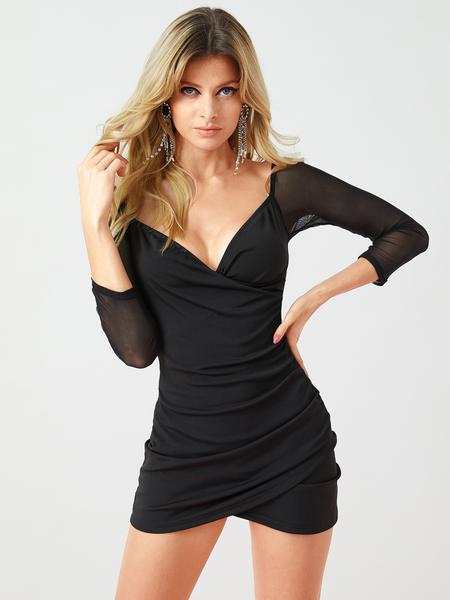 Yoins Black Backless Wrap Design With Mesh Patchwork Dress