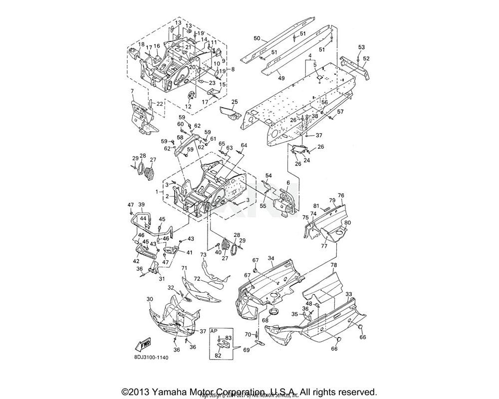 Yamaha OEM 8CR-2191A-02-00 BULKHEAD