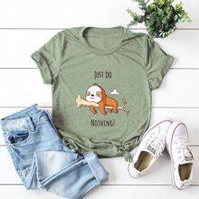 Camiseta con estampado de letra y dibujos animados - grande
