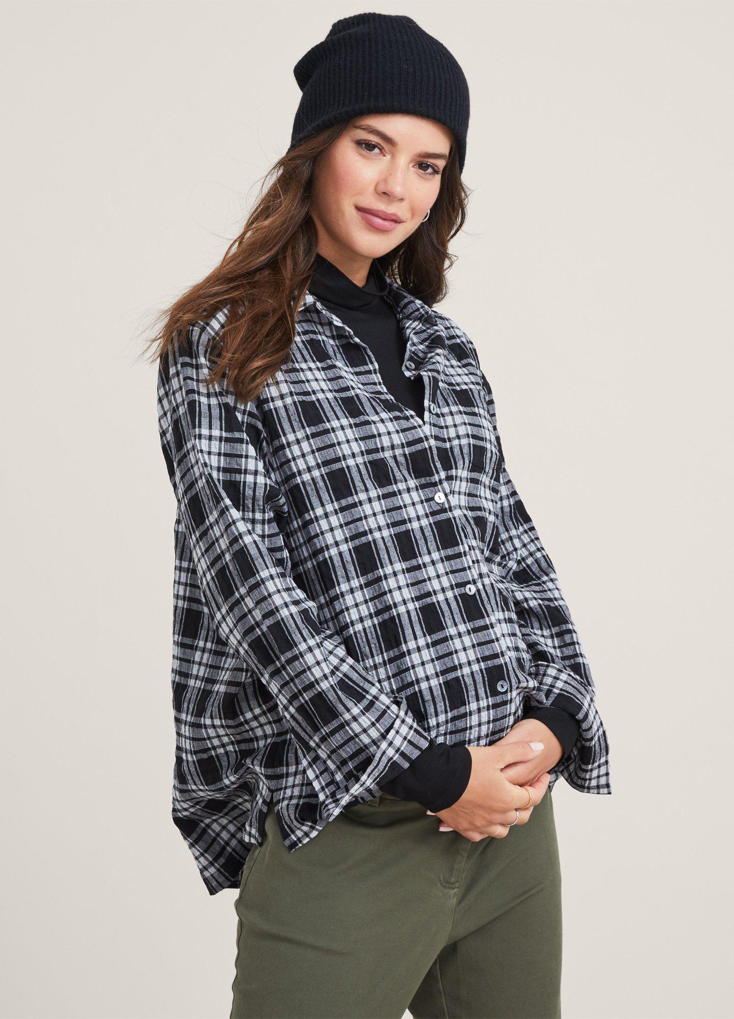HATCH Maternity The Boyfriend Shirt, black/ivory Crinkle Plaid, Size 1