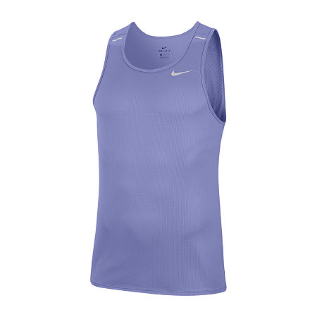 Nike Mens Crew Neck Sleeveless Moisture Wicking Tank Top, Large , Purple