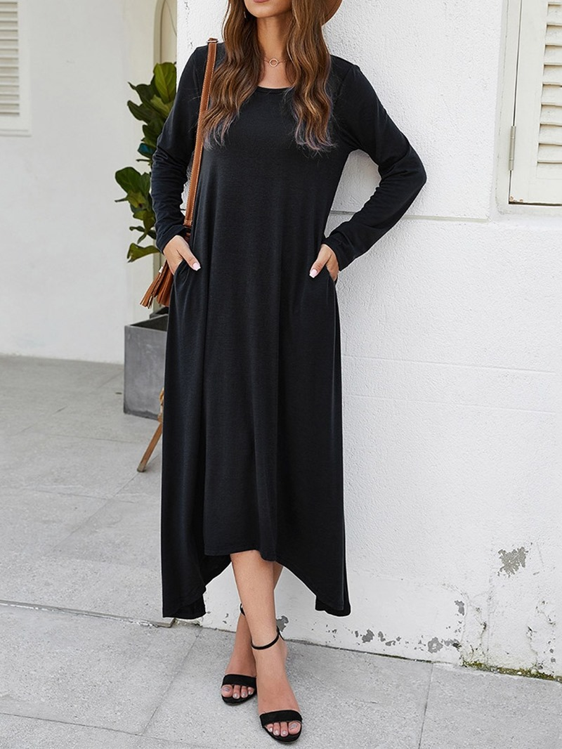Ericdress Mid-Calf Pocket Round Neck Regular Pullover Dress
