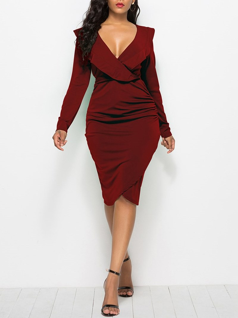 Ericdress Bodycon Long Sleeves V-Neck Women's Dress