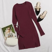 Rib-knit M-slit Hem Dress