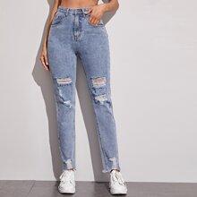 Blau  Taschen  Einfarbig Laessig Jeans