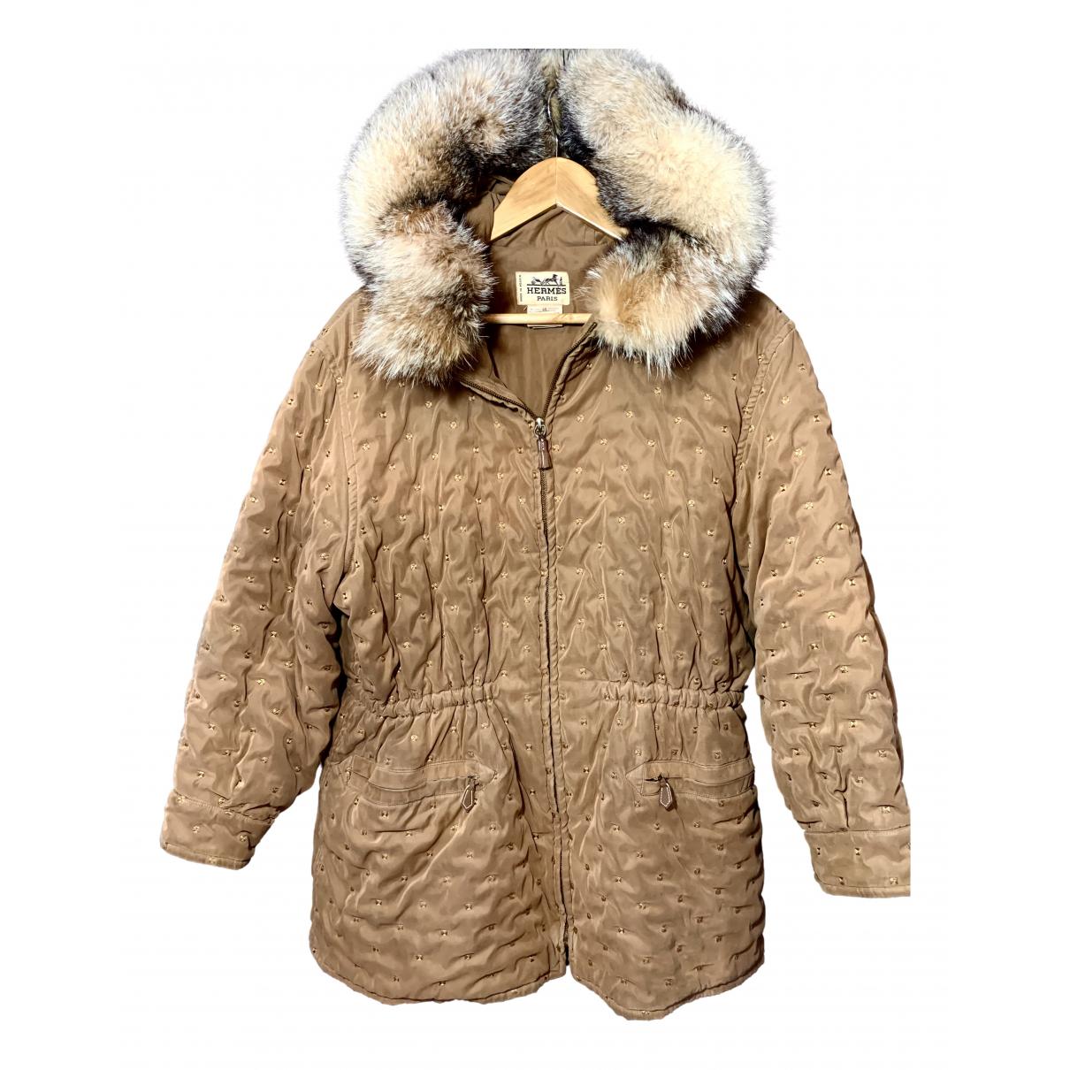 Hermes - Manteau   pour femme en soie - marron