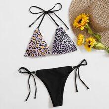 Leopard Triangle Thong Bikini Swimsuit