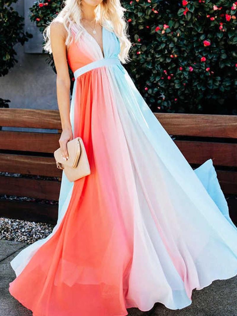 Ericdress V-Neck Floor-Length Backless Gradient All-Season Dress