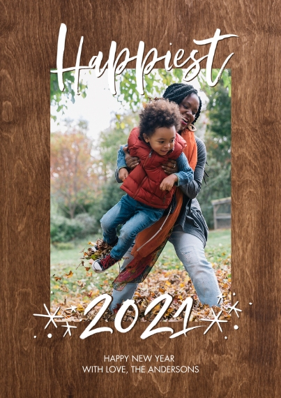 New Years Photo Cards 5x7 Cards, Standard Cardstock 85lb, Card & Stationery -2021 Happiest Stars by Tumbalina