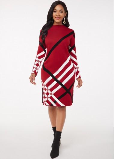 Red Dresses Mock Neck Striped Long Sleeve Sweater Dress - 2XL