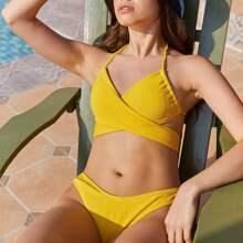 Wrap Halter High Leg Bikini Swimsuit