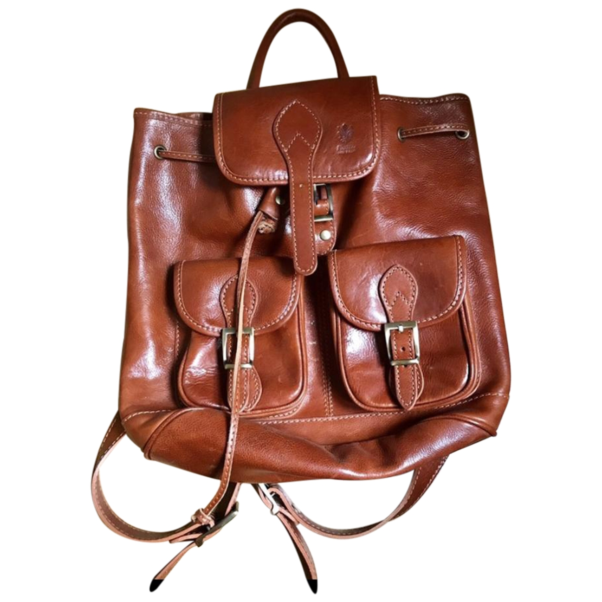 Non Signé / Unsigned \N Camel Leather backpack for Women \N