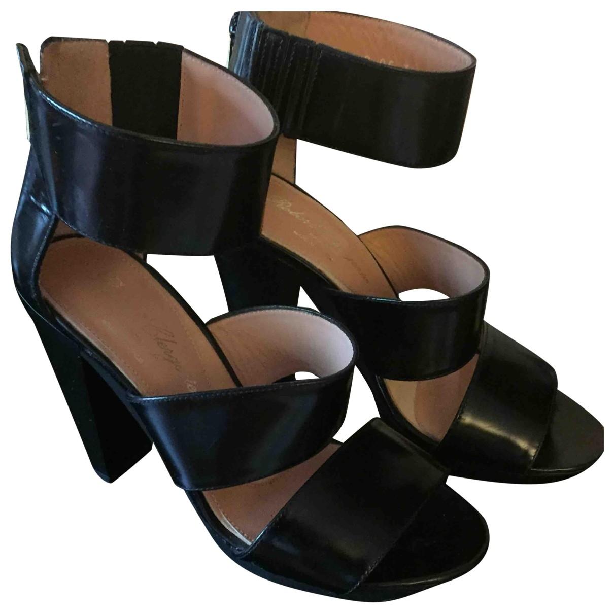Robert Clergerie \N Black Leather Sandals for Women 37.5 EU