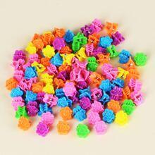 100 piezas garra de pelo de niñitas con diseño de flor