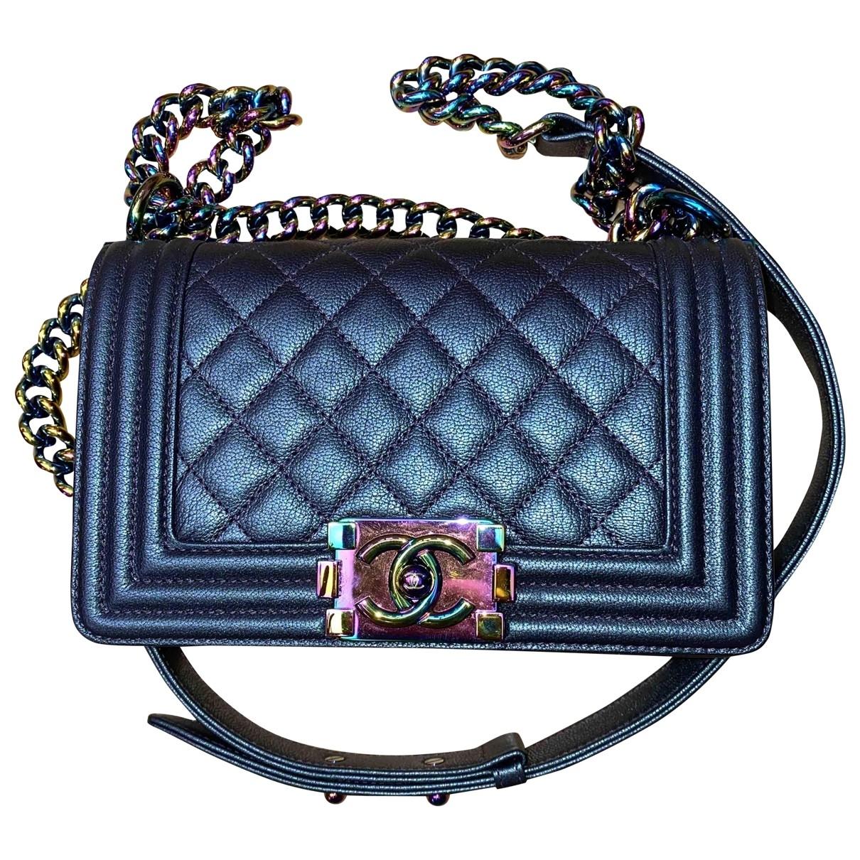 Chanel - Sac a main Boy pour femme en cuir - metallise