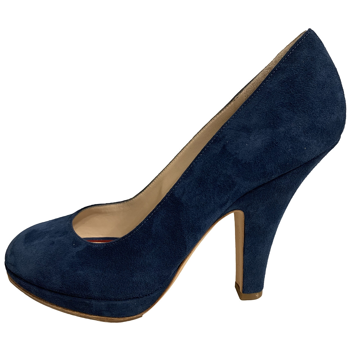 Celine Sharp Blue Suede Heels for Women 38 EU