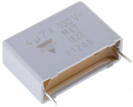 Vishay 4.7μF Polyester Capacitor PET 63 V ac, 100 V dc ±10%, Through Hole (10)