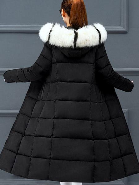 Milanoo Abrigos acolchados Bloque de color azul Casual Mujer Abrigo de invierno de manga larga con capucha de gran tamaño
