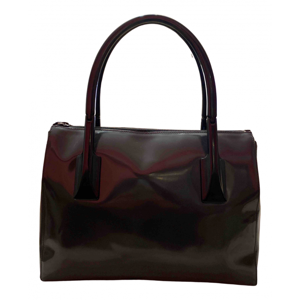 Prada Esplanade Handtasche in  Grau Lackleder