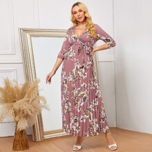 Maternity Surplice Neck Self Belted Pleated Floral Dress