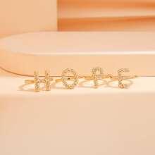 4 Stuecke Ring mit Strass Dekor und Buchstaben Design