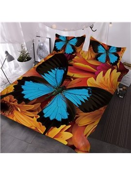Blue And Black Butterflies On Sunflowers Printed 3-Piece Comforter Sets