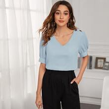 Button Detail Puff Sleeve Solid Blouse