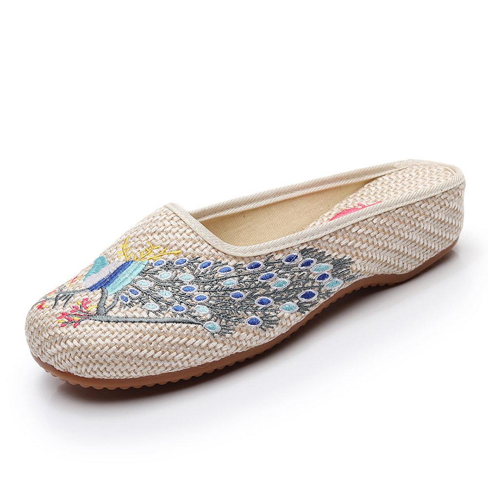 Women Soft Hemp Linen Closed Toe Embroidery Flat Slippers
