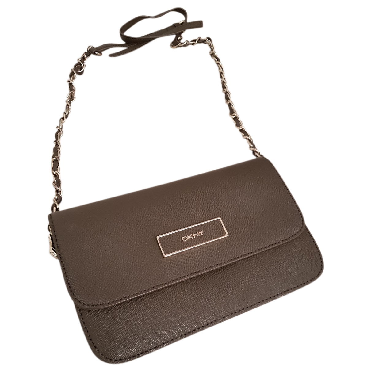 Dkny - Pochette   pour femme en cuir - kaki