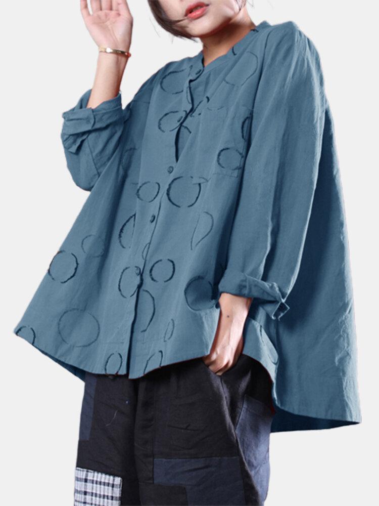 Casual Print High Low Hem Button Long Sleeve Plus Size Shirt