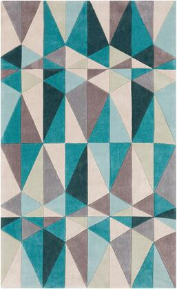 Cosmopolitan COS-9169 5' x 8' Rectangle Modern Rug in Teal  Khaki  Camel