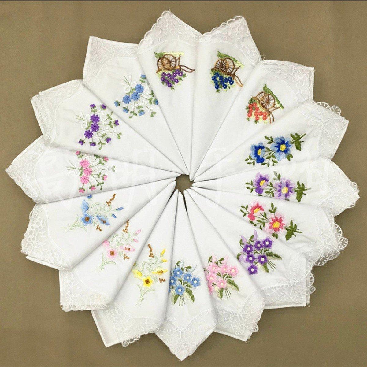 6pcs Women Butterfly Flower Embroidery Cotton Lace Handkerchiefs Floral Assorted