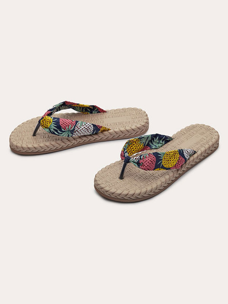 Milanoo Woman\'s Flip Flops Blue Floral Pirnted Flat Beach Sandals