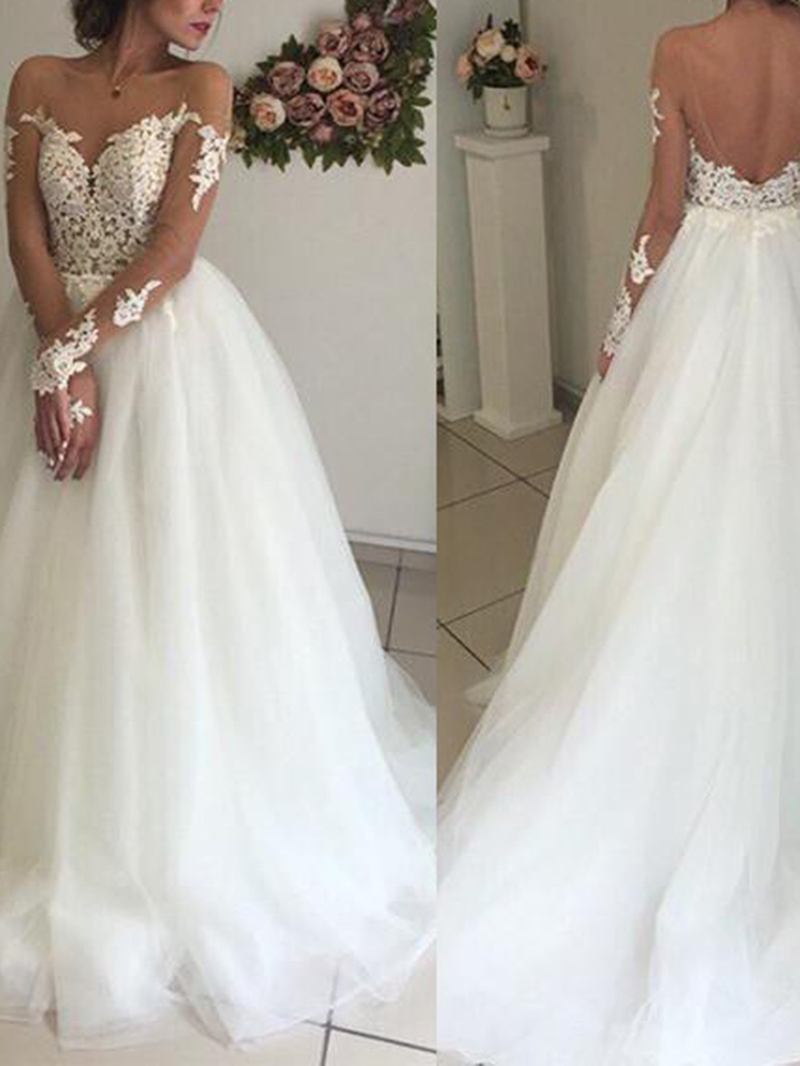 Ericdress Long Sleeves Appliques Plus Size Wedding Dress